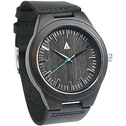treehut Herren Ebenholz Holz Armbanduhr mit echtem schwarzem Lederband Quarz Analog mit Qualität Miyota Bewegung, 4,3cm