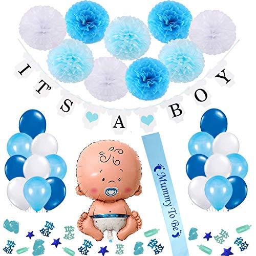 Vibury baby shower ragazzo decorazione, festa nascita bambino it's a boy bandiera, alluminio palloncini, 9 pezzi pon pons paper flowers, 18 palloncini, mummy to be da fascia e coriandoli