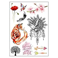 BESTPICKS Large Waterproof Fashion Temporary Tattoo Sticker - FOX, BELIEF, BUTTERFLY, FLOWERS, TREE, BIRDS - 14.5 X 21 cm Sheet