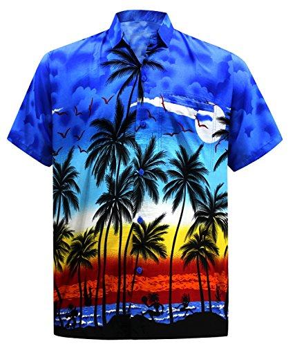 La Leela likre palme de poche oiseaux volants plage bouton occasionnel bas chemise bleu 3XL