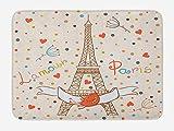 tgyew Honeymoon Bath Mat, Paris Eiffel Tower Love Valentines Birds Colorful Polka Dots Vacation Theme Image, Plush Bathroom Decor Mat with Non Slip Backing, 23.6 W X 15.7 W Inches, Multicolor
