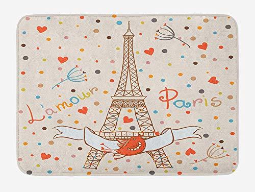 tgyew Honeymoon Bath Mat, Paris Eiffel Tower Love Valentines Birds Colorful Polka Dots Vacation Theme Image, Plush Bathroom Decor Mat with Non Slip Backing, 23.6 W X 15.7 W Inches, Multicolor Geek Dot