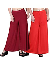 Mango People Products Indian Ethnic Rayon Designer Plain Casual Wear Palazzo Pant For Women's ( Maroon And White...