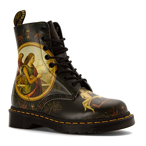 Dr.Martens Womens Pascal 8-Eyelet Di Paolo Backhand Print Leather Boots Vert