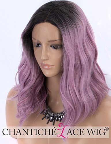 Preisvergleich Produktbild Chantiche Short Bob Lace Front Wig Ombre Purple Synthetic Wigs with Black Roots to Ash Purple Wavy Wigs for Women Heat Resistant