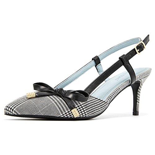 Damen Niedrig Mittlere Ferse Slingback Geschlossene Zehe Pumps Damen Krawatte Kätzchen Ferse Büro Arbeit Court Schuhe Größe,White-EU39=245