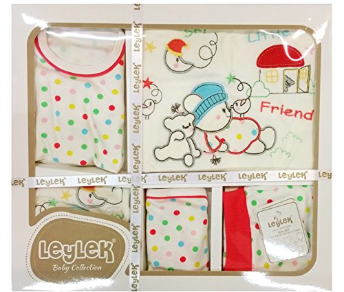 10-teilig Erstlingsausstattung Bär rot weiß Geschenkset Erstausstattung für Jungen und Mädchen Baby Set