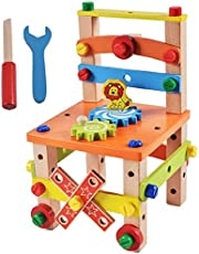 Emob Assembling Disassembling Wooden Multifunctional Chair with Nut and Screw Toys for Kids