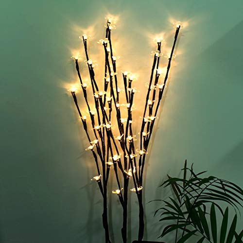 ToDIDAF Waterproof Solar Lights 3 sets of 20 LED Bulbs Stylish Tree Branch Twig Peach Blossom Outdoor Lighting Landscape Lamp for Garden Yard Lawn Home Restaurant Decoration (Warm White Light) -