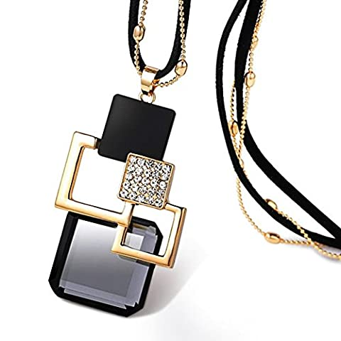 Z-P Women's Simply Style Fashion Temperament Grating Texture Pendant Necklace Sweater Chain