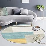 Tiwosan Rug Redondo Alfombra Antideslizante Moderna Moderna Minimalista de Pelo Corto Adecuada para Dormitorio Sala de Estar habitación Infantil Gris blanco-39 Pulgadas de diámetro_10
