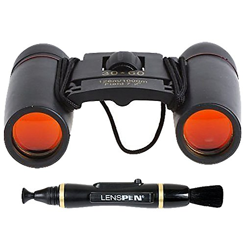 Sakura Mini Binocular Day Night Vision 30x60 Zoom with Coated Orange Lens + Lenspen NLP-1 Cleaning Brush (Black)
