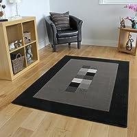 Tappeto moderno e morbido, motivo bordato, colori: nero e grigio - 5 formati