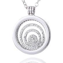 Morella Mujeres Collar 70 cm Acero Inoxidable y Colgante Amuleto Coin 33 mm en Bolsa para