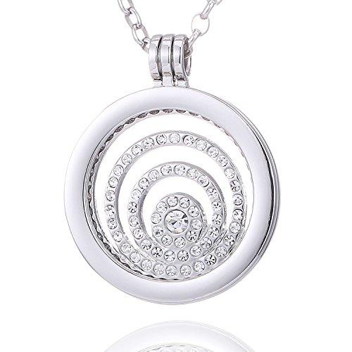 Morella Damen Halskette 70 cm Edelstahl und Anhänger mit Coin Zirkoniaring Silber in Schmuckbeutel (Mit Lange Anhänger Halskette)