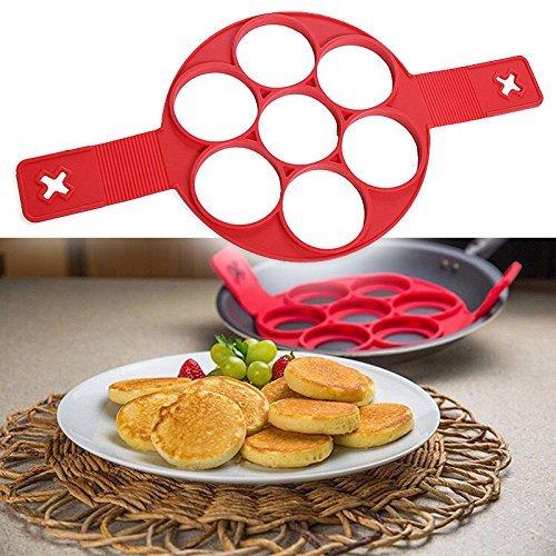 """""""Molde para hacer 7 tortitas, pasteles y huevos fritos - Apto para lavavajillas - Silicona - Con libro electrónico - Rojo """""""