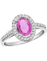 9ct Weiß Gold Natural Pink Sapphire Ring Oval 7x 5mm Diamant Halo, Größen J–T
