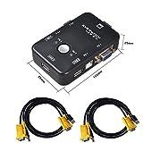 Lzh USB KVM switch box + VGA cavi USB per PC monitor/tastiera/controllo del mouse (2porte)
