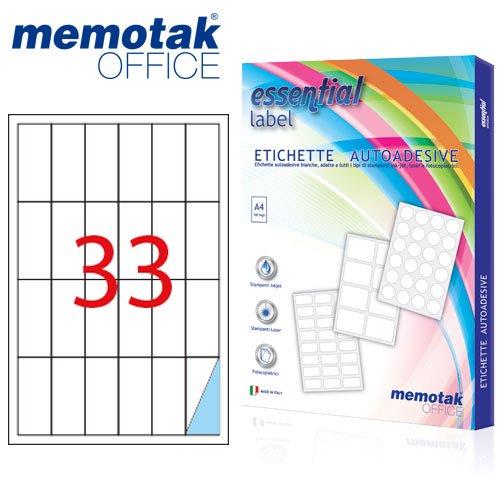 Packung mit 100Blatt A4Etiketten Aufkleber memotak Format in Millimeter 70x 253300Etiketten für Behälter
