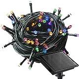 RPGT 100200300400500LED Guirlande lumineuse de Noël solaire d'eau Ditch Lampe solaire éclairage extérieur, multicolore, 400 LEDs