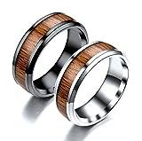 SonMo Damen Herren Edelstahl 8Cm Bandring Breit Hochzeit Ring Holz Bandring Herren für Paare Silber Damen Größe:65 (20.7)
