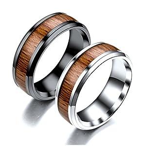 Beydodo 1 Stuck Titan Paar Ring Hochglanzpoliert mit Holz Breite 8 MM Rund Verlobungsring Partnerringe Hochzeitsring Schwarz/Silber
