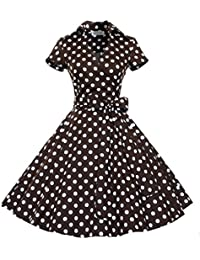 I-CURVES Ladies Brown and Red Polka Dot Vintage 50's Cocktail Retro Rockabilly Swing Dress Size(12,14,16)