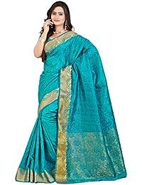 MIMOSA Women's Silk Saree with Blouse Piece, Free Size (2037-Saff, Saffire Blue)