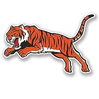 2 x Tiger Vinyl Sticker iPad Laptop Car Bike Helmet Cat Lion Mascot Gift #4708 (10cm Wide x 6.5cm Tall)