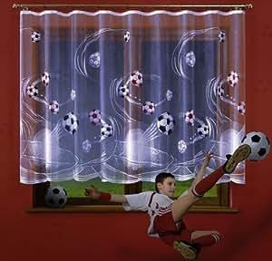 voilage football gar on tissu jacquard 150 cm vendue au. Black Bedroom Furniture Sets. Home Design Ideas