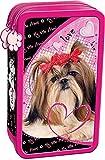 My Little Friend Hund SHIH TZU doppelstöckige gefüllte Federmappe für Schule Federmäppchen 2 Fächer Federtasche Inhalt: 26 TEILE