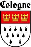 9,5 x 15 cm ( BxH ) - Wappen u. Schrift Konturschnitt - Autoaufkleber Köln Cologne Schriftzug Aufkleber Sticker fürs Auto Motorrad Handy Laptop