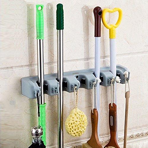Mop Broom Halter Holder Wandmontierte Organizer Rack mit 5 Ball Slots und 6 Haken für Küche Garten und Garage, Wäscherei Büros (Holz Ball-rack)