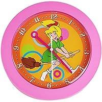 Kinderuhr Bibi Blocksberg Quarz 22x22cm Kinderwanduhr rosa Wanduhr Kinder Uhr