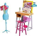 Barbie- Studio Stilista con Macchina da Cucire, Manichino e Accessori (Bambola Non Inclusa), FXP10