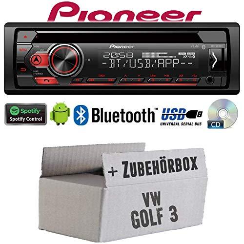 VW Golf 3 III - Autoradio Radio Pioneer DEH-S310BT - Bluetooth | Spotify | CD | MP3 | USB | Android | 4x50Watt Einbauzubehör - Einbauset
