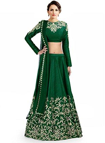 Fabkaz Silk Lehenga Choli (FKL-11_Green_Free Size)