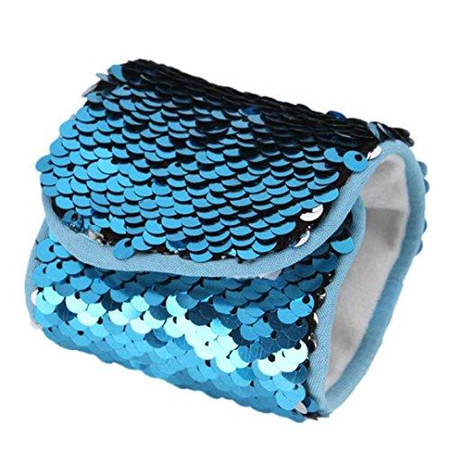 Coolster Armreif Doppelte Farbe Reversible Pailletten & Samt Futter Wristlet (Blau) (Metallica-armband)