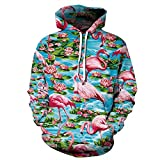 XINGMU Hoodie Flamingo Im See Paarart 3D-Digitaldruck Langärmliges Freizeit-Sweatshirt Baseball-Uniform-XXL/XXXL