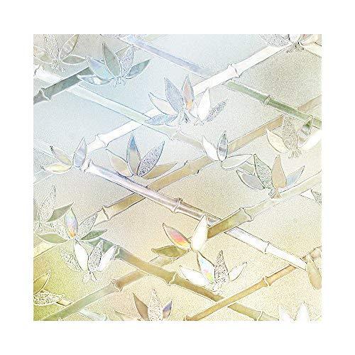 rabbitgoo Pellicole per Finestre Vetri-bambù e Fiori Decorativo,Anti-UV,Controllo di Calore90cmx200cm