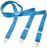 Herren Damen Long Hosenträger Y Form Style 3er Clips elastisch Schmal Unifarbe und Bunt mit verschiedenen Motiv, Blau (Lichtblau),Gr. One Size