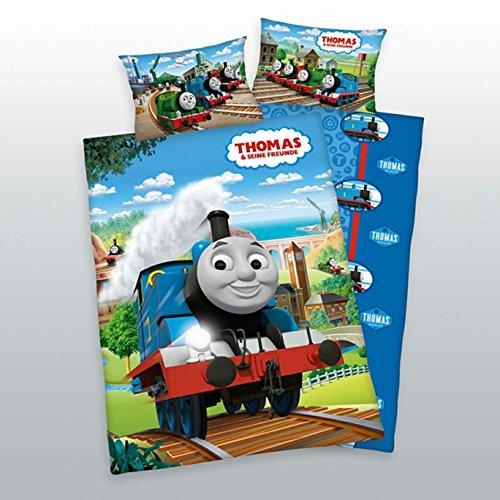 Herding Thomas und Seine Freunde Bettwäsche-Set, Baumwolle, Blau, 100 x 135 cm (Thomas-zug-bettwäsche-set)