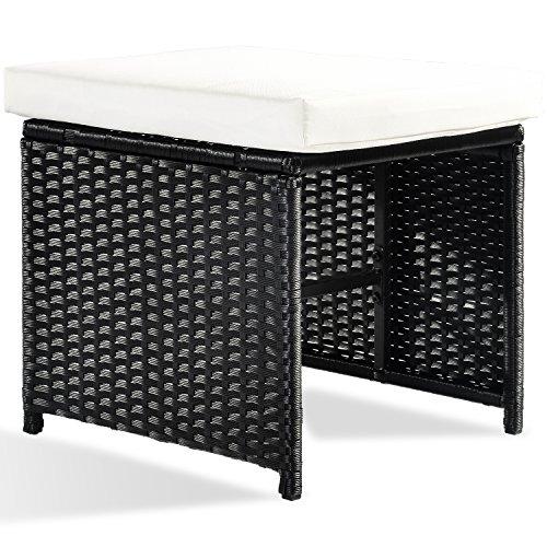 Merax Poly Rattan Lounge Gartenmöbel Set Sitzgruppe klappbare Essgruppe11/9 PCs (9 PCs, Schwarz) Bild 6*