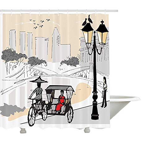 Yeuss moderner Duschvorhang von, Skizze Singapur Stadtsilhouette mit Einheimischen asiatische Stadt Illustration, Stoff Badezimmer Dekor Set mit Haken, hellgrau Creme rot 72 'x72'
