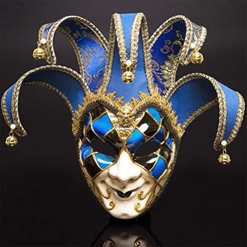 YLJYJ Venezianische Maske, Gesichtsmaske Joker Karneval Fasching Maskenball Karneval perfekt für Fasching, Karneval & Halloween - Kostüm für Erwachsene, Blue