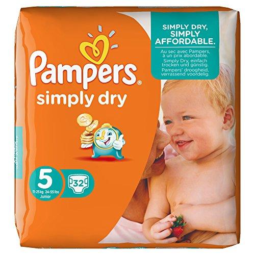 Preisvergleich Produktbild Pampers Windeln Simply Dry Größe 5 (Junior) 11-25 kg, 4er Pack (4 x 32 Stück)