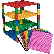 Placas base empilables superiores - Paquete de 12 unidades Paquete de placas de 25.5cm x 25.5cm con 60 apiladores nuevos y mejorados de 2x2 - Compatible con todas las marcas principales - Construcción de torre