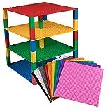 Strictly Briks Stapelbare Premium-Bauplatten - kompatibel mit Allen großen Marken - geeignet für Turm-Konstruktionen - Set aus 12 Platten & 80 Bausteinen - 25,4 x 25,4 cm