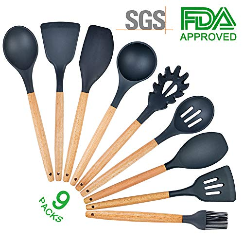 9 Piece Silicone Cooking Utensil Set Kitchen Tools with Natural Acacia Hard Wood Handle for Nonstick Cookware, Eco-Friendly, BPA Free