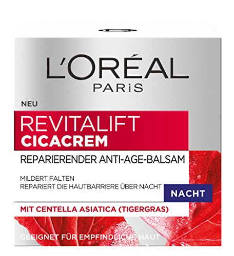 L'Oréal Paris RevitaLift Cicacrem Reparierender Anti-Age Balsam Nacht, 1er Pack (1 x 50 ml) (Creme Loreal Straffende)